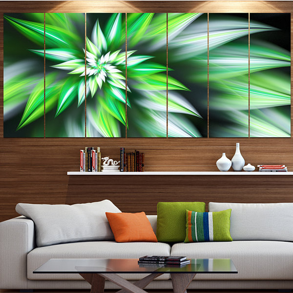 Designart Dance Of Green Exotic Flower Floral Canvas Art Print - 4 Panels