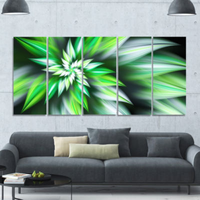 Dance Of Green Exotic Flower Floral Canvas Art Print - 5 Panels