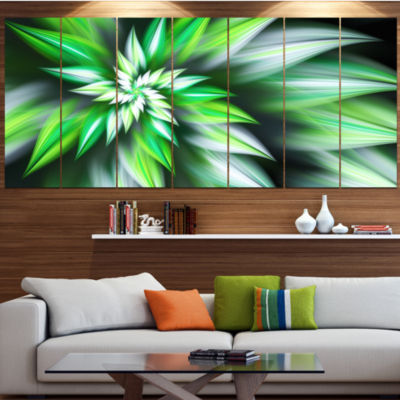 Dance Of Green Exotic Flower Floral Canvas Art Print - 7 Panels