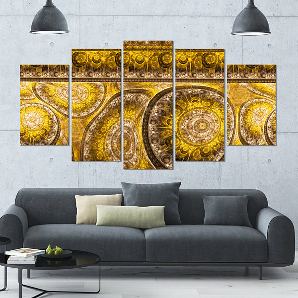 Designart Golden Extraterrestrial Life Cells LargeFloral Canvas Art Print - 5 Panels