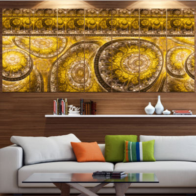 Golden Extraterrestrial Life Cells Large Floral Canvas Art Print - 5 Panels