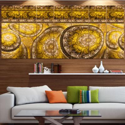 Design Art Golden Extraterrestrial Life Cells Floral Canvas Art Print - 7 Panels