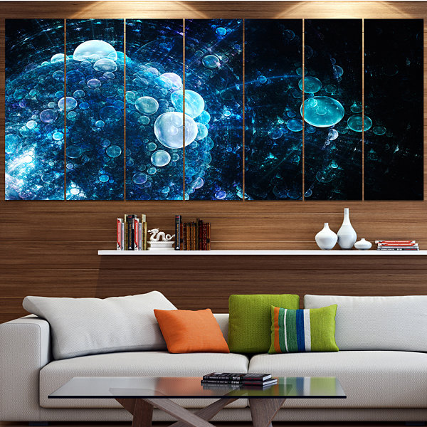 Designart Blue Spherical Water Drops Floral CanvasArt Print- 7 Panels