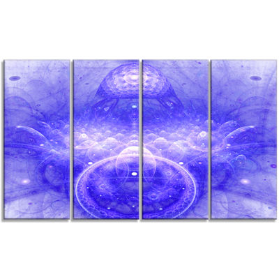 Designart Infinite Blue Boundaries Of World FloralCanvas Art Print - 4 Panels