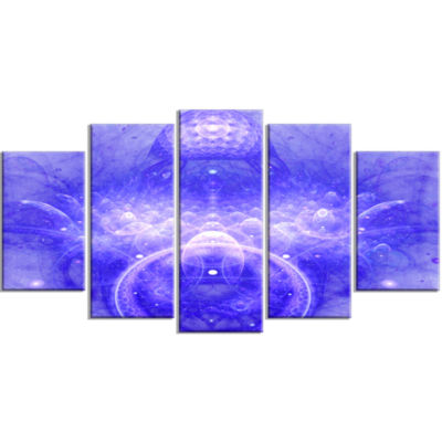 Infinite Blue Boundaries Of World Large Floral Canvas Art Print - 5 Panels
