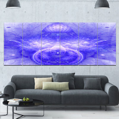 Designart Infinite Blue Boundaries Of World FloralCanvas Art Print - 6 Panels