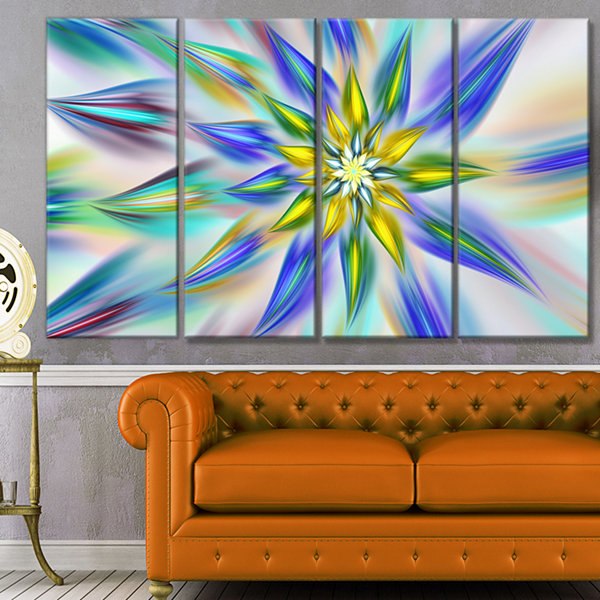 Designart Dancing Blue Fractal Flower Floral Canvas Art Print - 4 Panels
