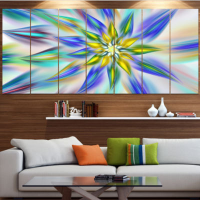 Designart Dancing Blue Fractal Flower Large FloralCanvas Art Print - 5 Panels