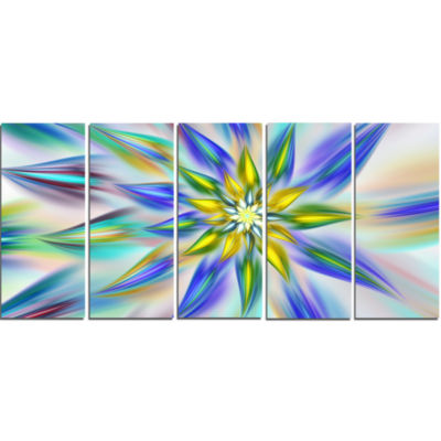 Dancing Blue Fractal Flower Floral Canvas Art Print - 5 Panels