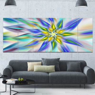 Dancing Blue Fractal Flower Floral Canvas Art Print - 6 Panels