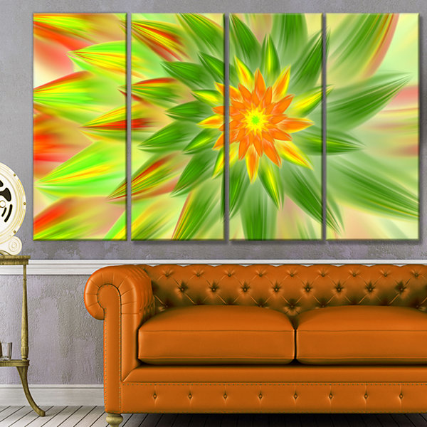 Design Art Dancing Green Fractal Flower Floral Canvas Art Print - 4 Panels