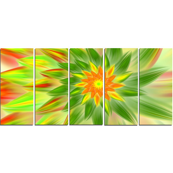 Designart Dancing Green Fractal Flower Floral Canvas Art Print - 5 Panels