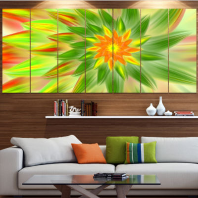 Dancing Green Fractal Flower Floral Canvas Art Print - 6 Panels