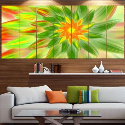 Dancing Green Fractal Flower Floral Canvas Art Print - 7 Panels