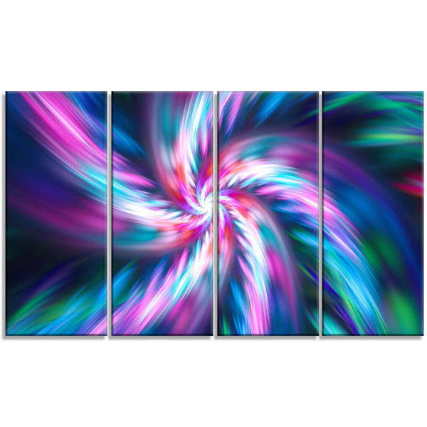 Designart Dancing Multi Color Fractal Flower Floral Canvas Art Print - 4 Panels