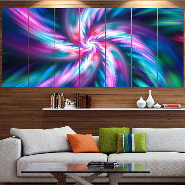Designart Dancing Multi Color Fractal Flower Floral Canvas Art Print - 6 Panels