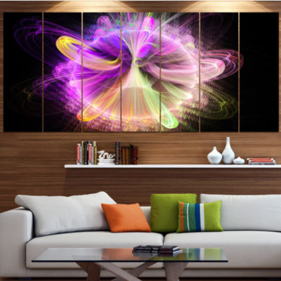 Designart Purple Circle With Amazing Curves FloralCanvas Art Print - 4 Panels
