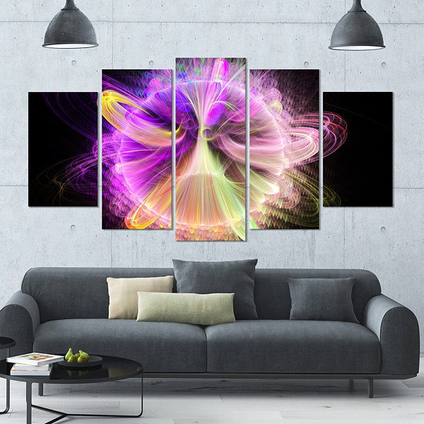 Design Art Purple Circle With Amazing Curves LargeFloral Canvas Art Print - 5 Panels