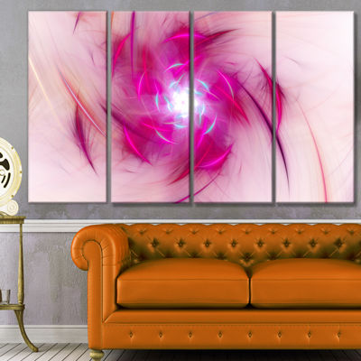 Designart Purple Fractal Nuclear Reaction FloralCanvas Art Print - 4 Panels