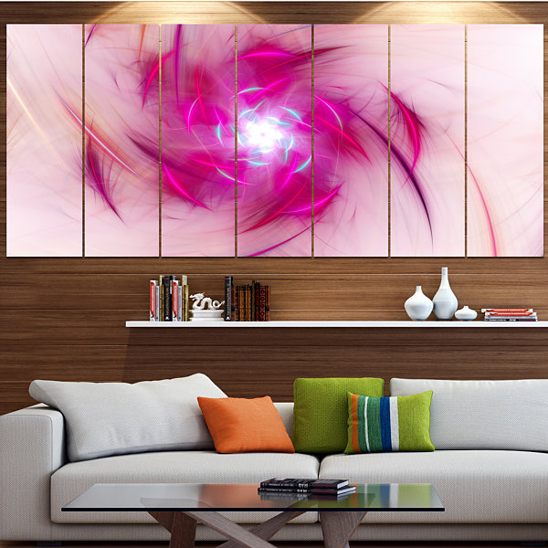 Designart Purple Fractal Nuclear Reaction Large Floral Canvas Art Print - 5 Panels