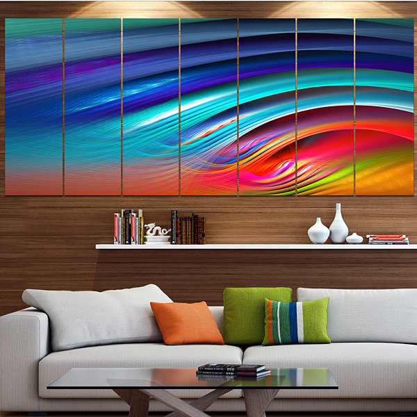 Designart Beautiful Fractal Rainbow Waves FloralCanvas Art Print - 4 Panels