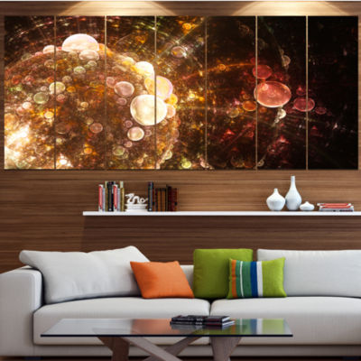 Designart Brown World Bubbles Water Drops Large Floral Canvas Art Print - 5 Panels