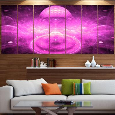 Designart Bright Purple Infinite World Floral Canvas Art Print - 5 Panels