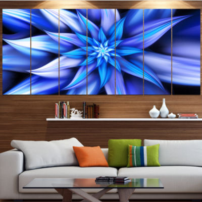 Designart Dancing Blue Flower Petals Floral CanvasArt Print- 4 Panels
