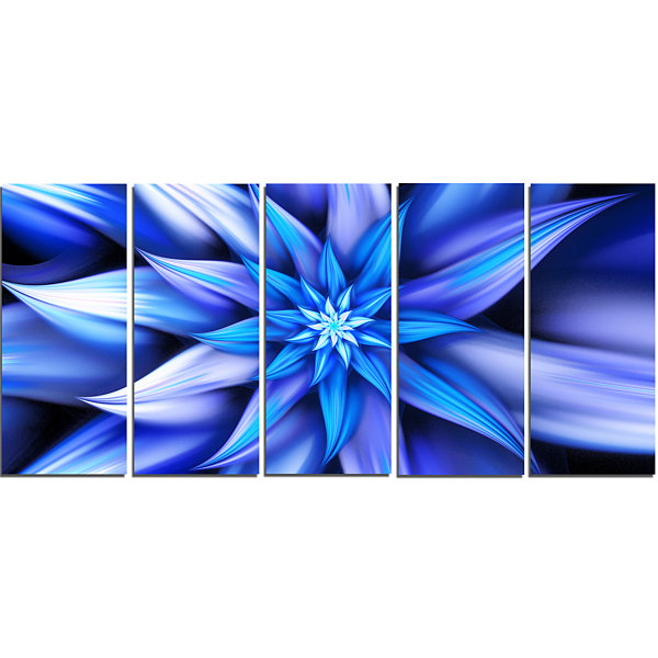 Design Art Dancing Blue Flower Petals Floral Canvas Art Print- 5 Panels