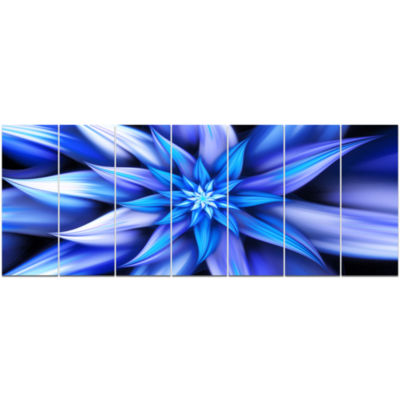 Dancing Blue Flower Petals Floral Canvas Art Print- 7 Panels