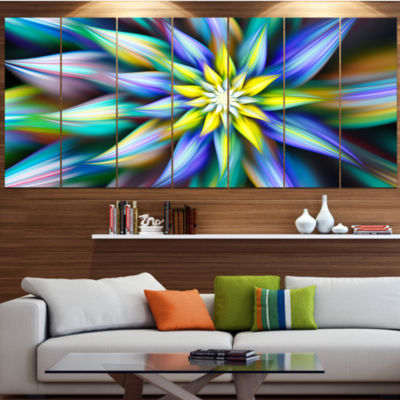 Designart Dancing Multi Color Flower Petals LargeFloral Canvas Art Print - 5 Panels