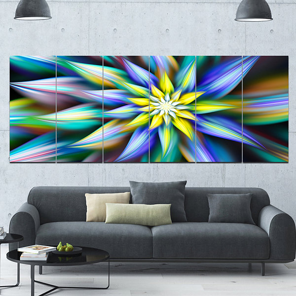 Designart Dancing Multi Color Flower Petals FloralCanvas Art Print - 6 Panels