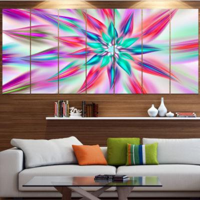 Designart Dancing Pink Flower Petals Floral CanvasArt Print- 4 Panels