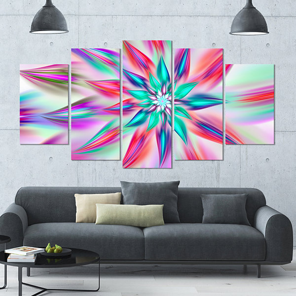 Design Art Dancing Pink Flower Petals Large FloralCanvas Art Print - 5 Panels