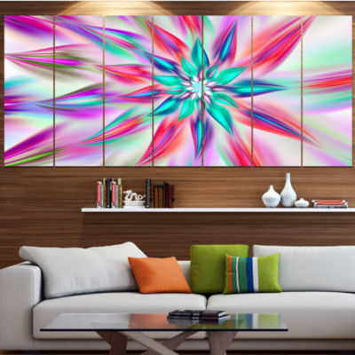 Designart Dancing Pink Flower Petals Floral CanvasArt Print- 5 Panels