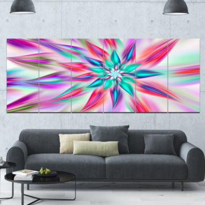 Dancing Pink Flower Petals Floral Canvas Art Print- 6 Panels