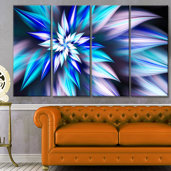 Designart Dancing Light Blue Flower Petals FloralCanvas Art Print - 4 Panels