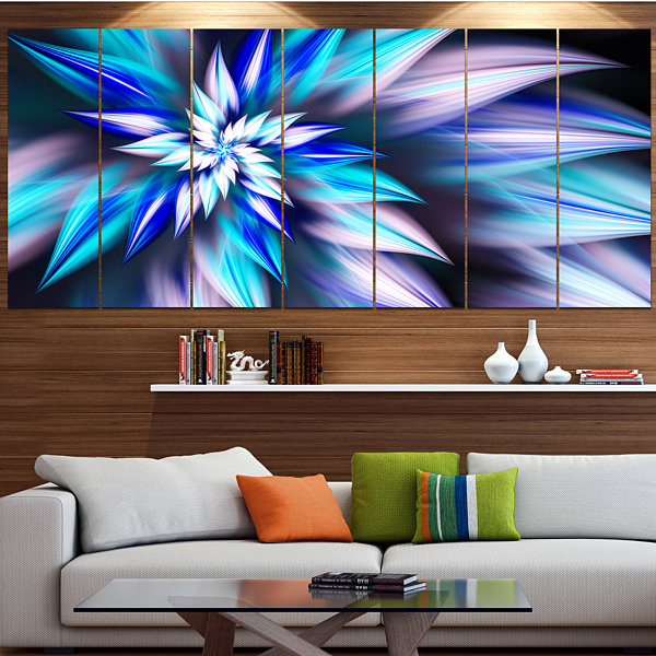 Designart Dancing Light Blue Flower Petals FloralCanvas Art Print - 5 Panels