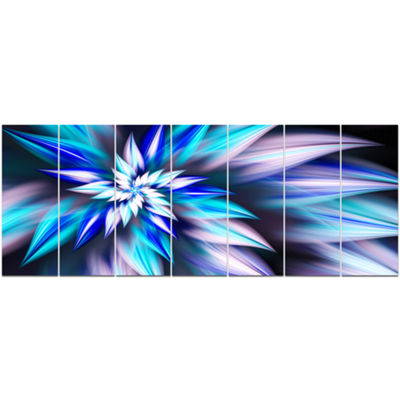 Designart Dancing Light Blue Flower Petals FloralCanvas Art Print - 7 Panels