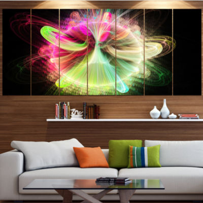 Designart Large Circle With Yellow Curves FloralCanvas Art Print - 6 Panels