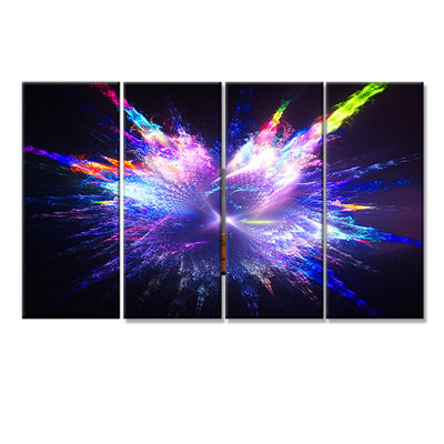 Designart Blue Explosion Of Paint Drops Floral Canvas Art Print - 4 Panels