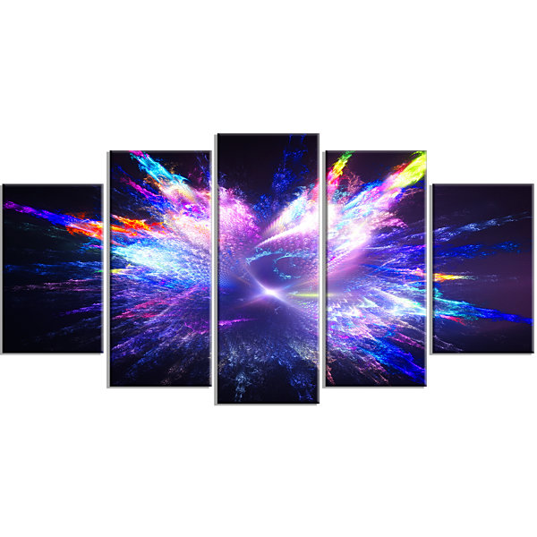 Designart Blue Explosion Of Paint Drops Large Floral Canvas Art Print - 5 Panels