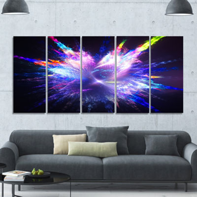 Designart Blue Explosion Of Paint Drops Floral Canvas Art Print - 5 Panels