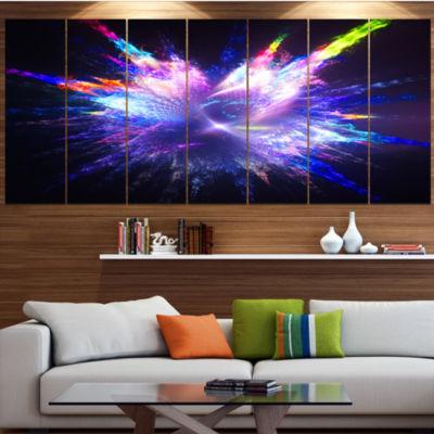 Designart Blue Explosion Of Paint Drops Floral Canvas Art Print - 7 Panels