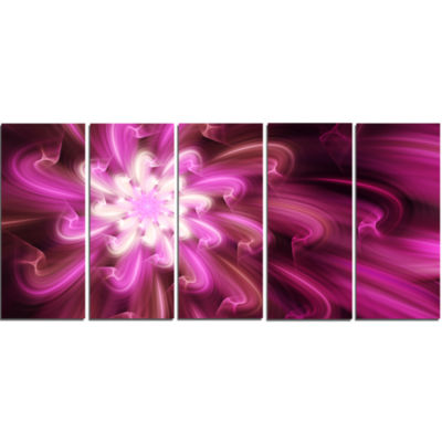 Exotic Dance Of Purple Flower Petals Floral CanvasArt Print - 5 Panels