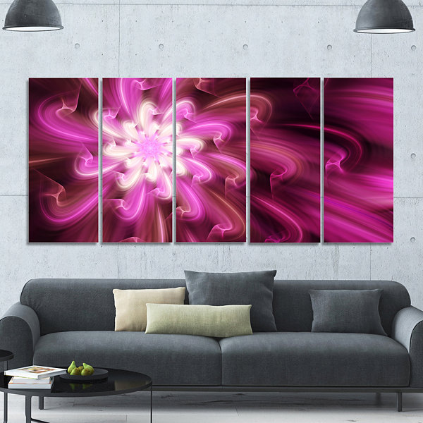 Designart Exotic Dance Of Purple Flower Petals Floral Canvas Art Print - 5 Panels