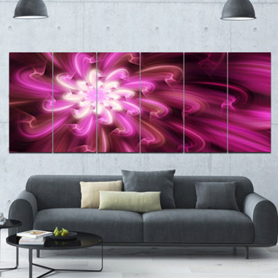 Designart Exotic Dance Of Purple Flower Petals Floral Canvas Art Print - 6 Panels
