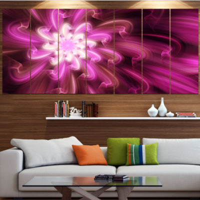 Exotic Dance Of Purple Flower Petals Floral CanvasArt Print - 7 Panels