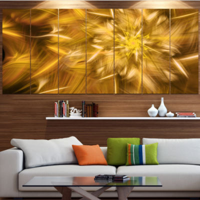 Designart Exotic Dance Of Golden Flower Petals Floral Canvas Art Print - 6 Panels