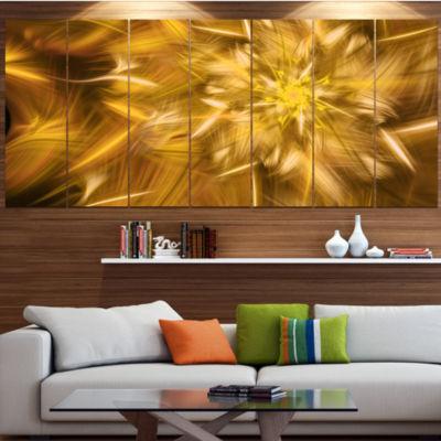 Designart Exotic Dance Of Golden Flower Petals Floral Canvas Art Print - 7 Panels